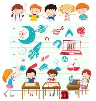 Crianças fazendo ciência na ilustração da escola