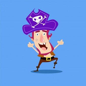 Crianças felizes piratas assaltante personagem de personagem marinheiro