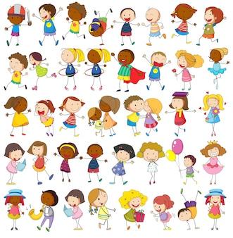 Crianças jogando várias atividades em branco