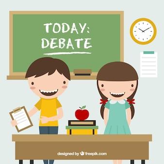 Crianças na escola debate
