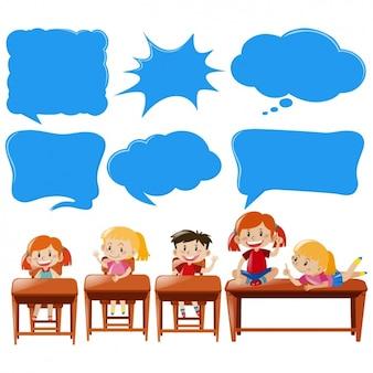 Crianças no projeto de sala de aula