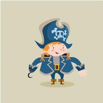 Crianças pequenas piratas assaltante personagem de personagem marinheiro