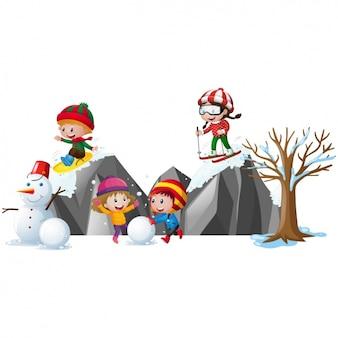 Crianças que jogam na neve