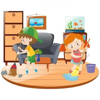 Crianças que limpam a casa