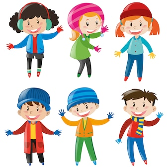 Crianças vestindo roupas de inverno coleção