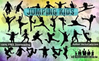 Crianças vetor Jumping | Todos Silhouettes