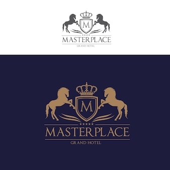 Crista de letras de cavalos com escudo e Coroa para Hotel, Finanças, Clube desportivo, logotipo de luxo