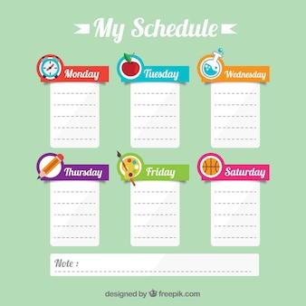 Cronograma bonito da escola com notas
