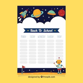 Cronograma escolar com elementos espaciais
