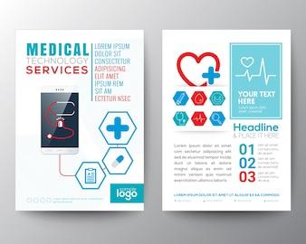 Cuidados de saúde e modelo de brochura Poster Medical Flyer