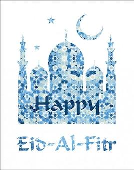 Cumprimento de Eid-Al-Fitr feliz em tons de azul