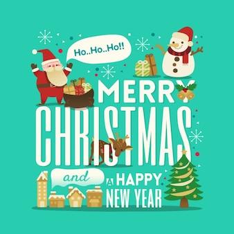 Cumprimento do Natal e Ano Novo tipografia bonito com ilustração de Papai Noel boneco de neve