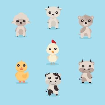 Cute animal cartoon set vector
