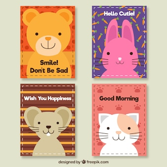 Cute cards of lovely animals set