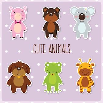 Cute conjunto de animais
