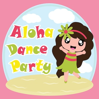 Cute girl on Aloha party dance vector cartoon