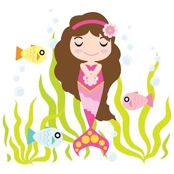 Cute Mermaid Girl está desfrutando de tempo na água desenho vetorial, criança cartão postal, papel de parede e cartão de saudação, T-shirt design para crianças