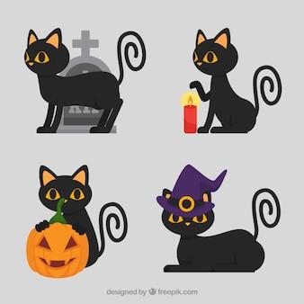 Cute pack of flat halloween cats