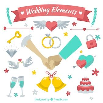 Cute sortimento de elementos do casamento