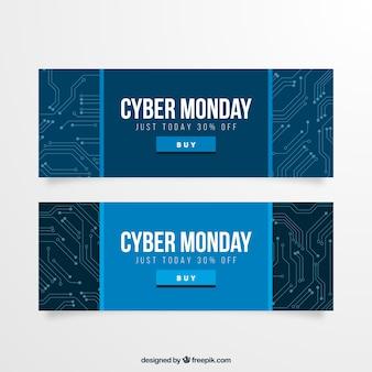 Cyber segunda-feira banners de circuito