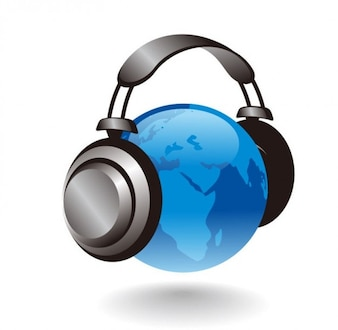 d globo terrestre com fones de ouvido gráfico vetorial