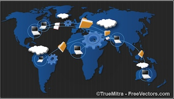 Dados em todo o mundo que compartilham conceito fundos set