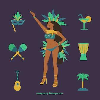 Dançarina brasileira com elementos de carnaval