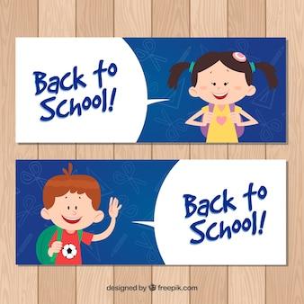 De volta aos banners escolares com crianças felizes