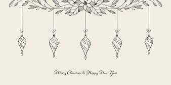 Decoração de Natal pendurada com elementos e saudações de Natal desenhadas à mão