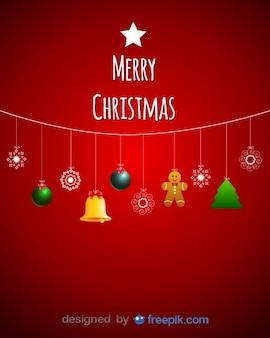 Decoratives Natal que penduram em uma corda