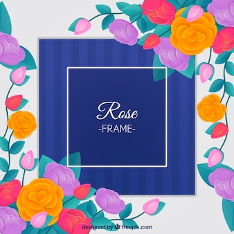 Decorativo emoldurado com rosas coloridas