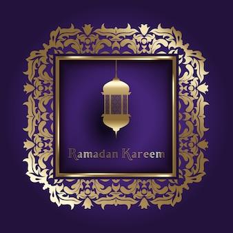 Decorativo fundo para o Ramadã com moldura de ouro