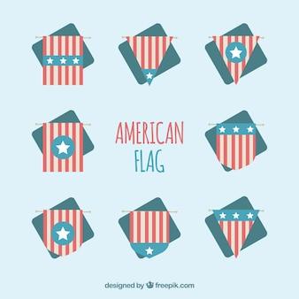 Decorativo, jogo, apartamento, americano, Bandeiras