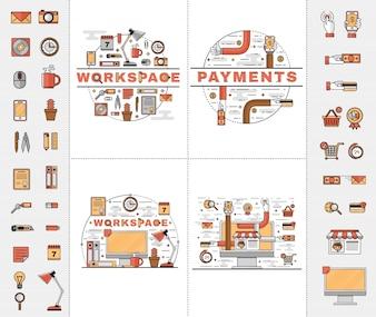 Definir ícones planos de arte de linha
