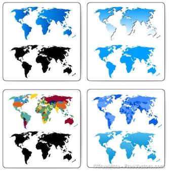 Definir mapas cartografia mundo dos negócios em todo o mundo bandeira azul, preto