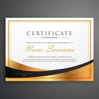 Deisgn modelo de certificado com a onda dourada