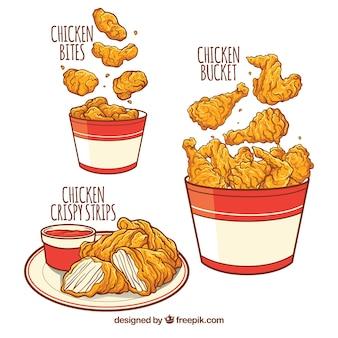 Deliciosos menus de frango frito