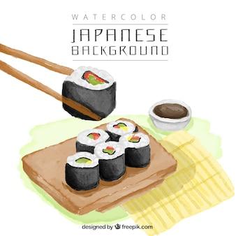 Deliciosos pedaços de sushi fundo da aguarela