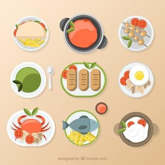 Deliciosos pratos em design plano
