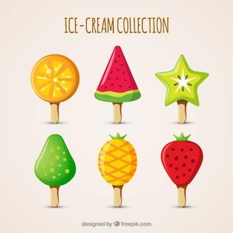 Deliciosos sorvetes com diferentes formas