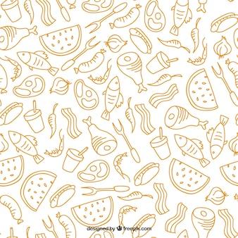 desenhada padrão de churrasco e alimentos mão