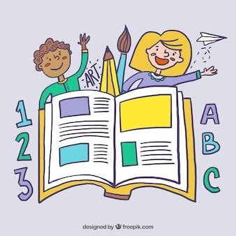 desenhadas mão artistas crianças com um livro