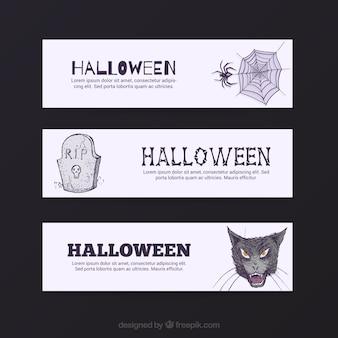 Desenhadas mão bandeiras de Halloween