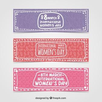 desenhadas mão Bandeiras do dia da mulher internacional