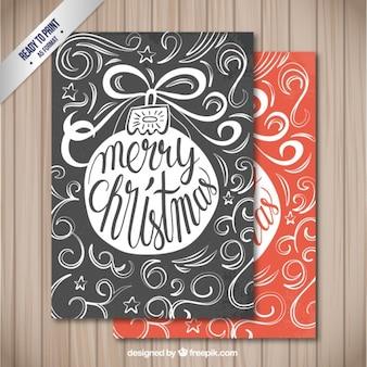 Desenhadas mão cartões de Natal retro