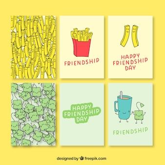 Desenhadas mão cartões do dia agradável de amizade