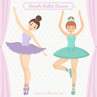 desenhadas mão dançarinos da menina