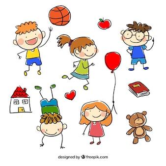 Desenhadas mão das crianças desenhos animados
