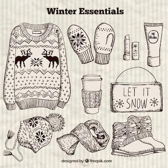 Desenhadas mão de inverno essencial