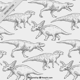 Desenhadas mão dinossauros padrão